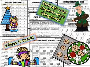 Christmas Math Mystery Activity: Case of The Selfish Elf (7th Grade)