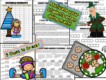 Christmas Math Mystery Activity: Case of The Selfish Elf (7th Grade) CSI Math