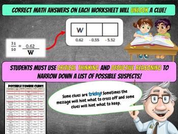 8th Grade Christmas Activity - Christmas Math Mystery : Zombie Elves