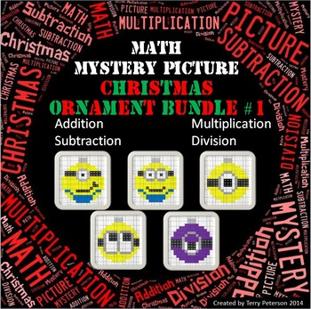 Christmas Math Mystery BUNDLE Addition Subtraction Multipl