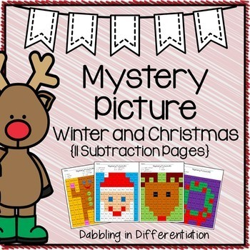 Christmas Subtraction Mystery Picture