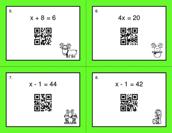 Christmas Math: One Step Equations (Mixed Operations) QR Code Task Cards