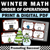 Christmas Math Activities, Order of Operations Task Cards, 6th Grade Math Review