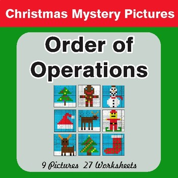 Christmas Math: Order of Operations - Color-By-Number Mystery Pictures