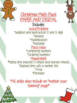 Christmas Math Pack (2nd-4th with constructed response)