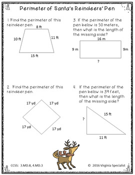 Christmas Math Packet for Grades 3-5