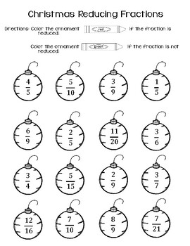 Christmas Math- Penguins Reducing Fractions Center & Worksheet (2 sets included)