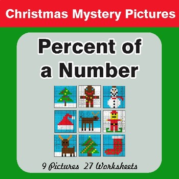 Christmas Math: Percent of a Number - Color-By-Number Math Mystery Pictures
