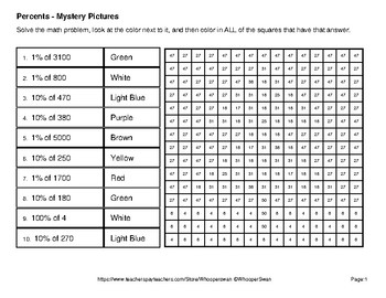 Christmas Math: Percent of a Number - Color-By-Number Mystery Pictures