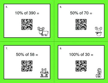 Christmas Math: Percents QR Code Task Cards