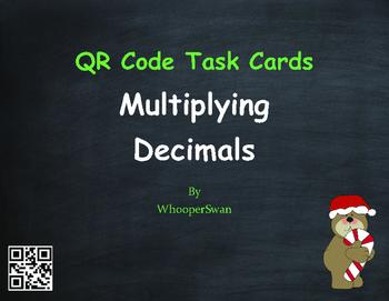 Christmas Math: Percents to Decimals QR Code Task Cards