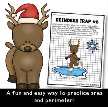 Christmas Math: Perimeter and Area *Help Santa Trap the Reindeer*