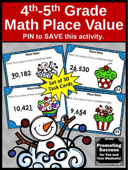 4th Grade Place Value Task Cards, Christmas Math Activities