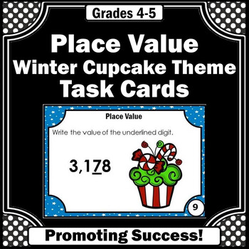 Winter or Christmas Math Centers Place Value Task Cards fo