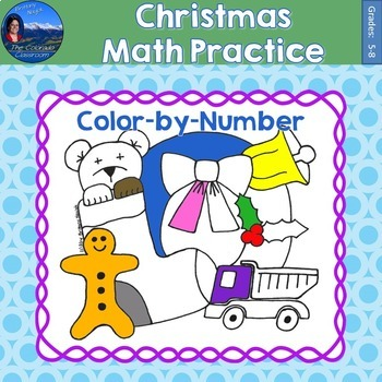 Christmas Math Practice Color by Number Grades 5-8