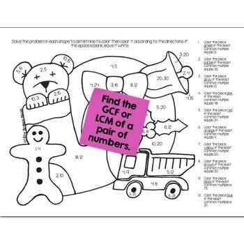 Christmas Math Practice Color by Number Grades 5-8 Bundle