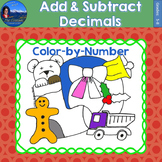 Add & Subtract Decimals Math Practice Christmas Color by Number