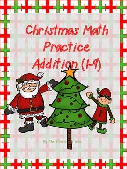 Christmas Math Practice: Addition 1-9