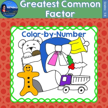 Greatest Common Factor (GCF) Math Practice Christmas Color by Number