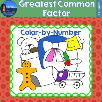 Greatest Common Factor (GCF) Math Practice Christmas Color