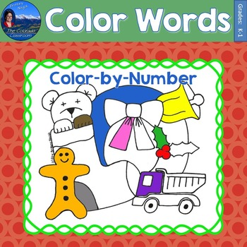 Color Words Math Practice Christmas Color by Number