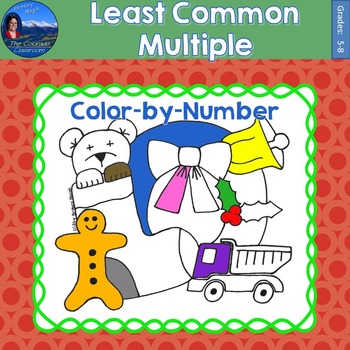 Least Common Multiple (LCM) Math Practice Christmas Color by Number
