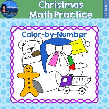 Christmas Math Practice Color by Number Grades K-4
