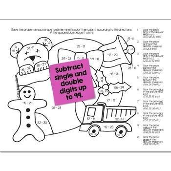 Christmas Math Practice Color by Number Grades K-8 Bundle