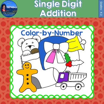Single Digit Addition Math Practice Christmas Color by Number