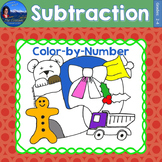 Subtraction Math Practice Christmas Color by Number