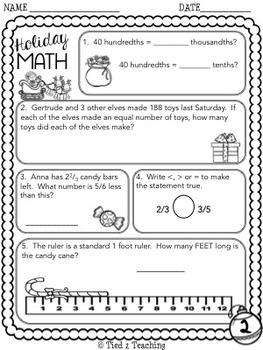 Christmas Math Printables - Fifth Grade