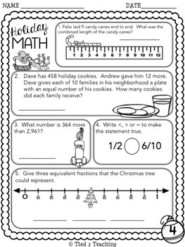 Christmas Math Printables - Fourth Grade