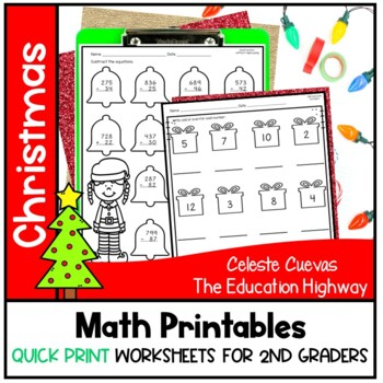 Christmas Math Printables Grade 2   Quick Print Now