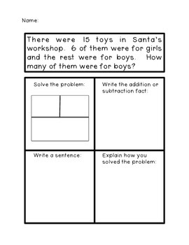 Christmas Math Problem Solving