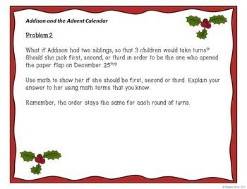 Addison and the Advent Calendar~Christmas Math - Problem Solving