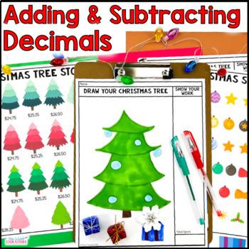 Christmas Math - Build a Christmas Tree: Adding Decimals