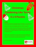 Christmas Math Puzzle - Combining Like Terms