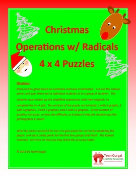 Christmas Math Puzzle - Radicals (Mixed Operations)