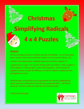 Christmas Math Puzzle - Simplifying Radicals