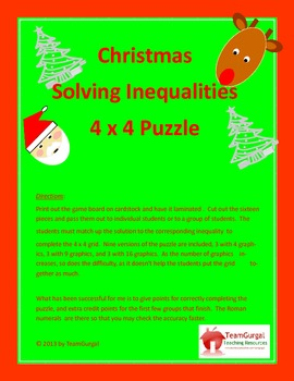 Christmas Math Puzzle Solving Inequalities By The Gurgals Tpt
