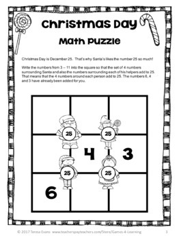 Free Christmas Math Worksheet Puzzles