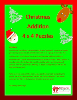 Christmas Math Puzzles - Addition - One and Two Digit