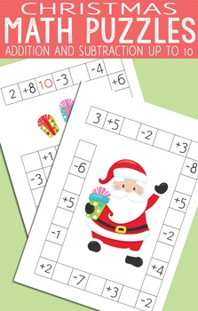 Christmas Math Puzzles Worksheets - Addition and Subtraction up to 10