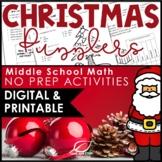 Christmas Math Activities for Middle School - Printable & Digital