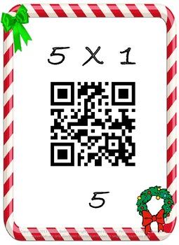 Christmas Math Multiplication QR Fact 5's