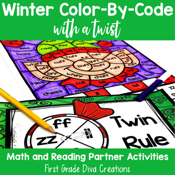 Christmas Math & Reading Activities- Color by Code Partner Games
