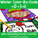 Christmas Math & Reading Activities | Color by Code Partner Games