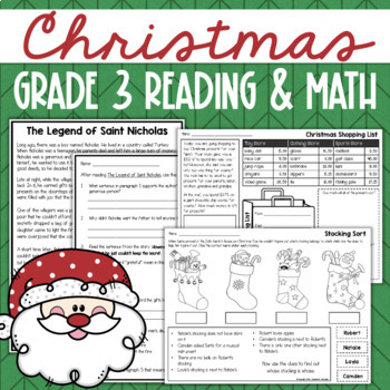 Christmas Math & Reading No-Prep Printables for 3rd Grade