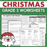 Third Grade CHRISTMAS Activities No-Prep Math & Reading Holiday Worksheets