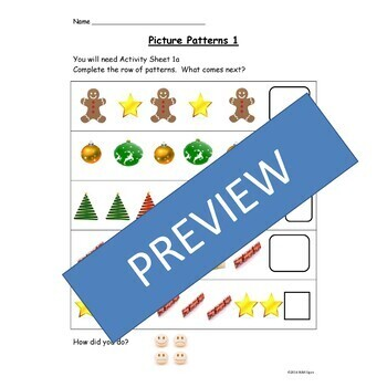 Christmas Math Repeated Patterns/Sequencing Pictures and Shapes